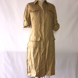 Vintage 10% Linen Sz 10 Safari Shirt Dress